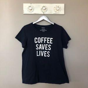 Torrid | Coffee Saves Lives Cotton Navy Tee Shirt
